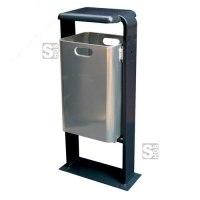 Abfallbehälter -City 200- aus Aluminium, mit Abdeckung und Dreikantverschluss, Volumen 40 Liter