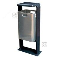 Abfallbehälter -City 200- aus Stahl, mit Abdeckung und Dreikantverschluss, Volumen 40 Liter, verschiedene Befestigungen