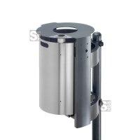 Abfallbehälter -City 300- aus Aluminium, mit Ascher und flacher Abdeckung, Dreikantverschluss, Volumen 40 Liter, verschiedene Befestigungen