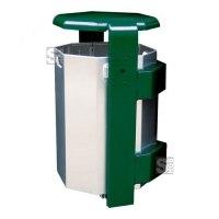 Abfallbehälter -City 500- aus Aluminium, mit Abdeckung und Dreikantverschluss, Volumen 65 Liter, verschiedene Befestigungen
