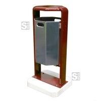 Abfallbehälter -City 600- aus Stahl, mit Abdeckung und Dreikantverschluss, Volumen 45 Liter