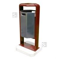 Abfallbehälter -City 600- aus Stahl, mit Abdeckung und Dreikantverschluss, Volumen 45 Liter, verschiedene Befestigungen