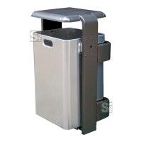 Abfallbehälter -City 800- aus Aluminium, mit Abdeckung und Dreikantverschluss, Volumen 60 Liter, verschiedene Befestigungen