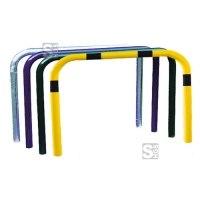 Anlehnbügel / Absperrbügel -Sylt- Ø 48 mm aus Stahl, zum Einbetonieren, ohne Farbe, gelb / schwarz oder nach RAL