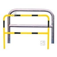 Anlehnbügel / Absperrbügel -Sylt- Ø 60 mm aus Stahl, zum Aufdübeln, mit Querholm, ohne Farbe, gelb / schwarz oder nach RAL