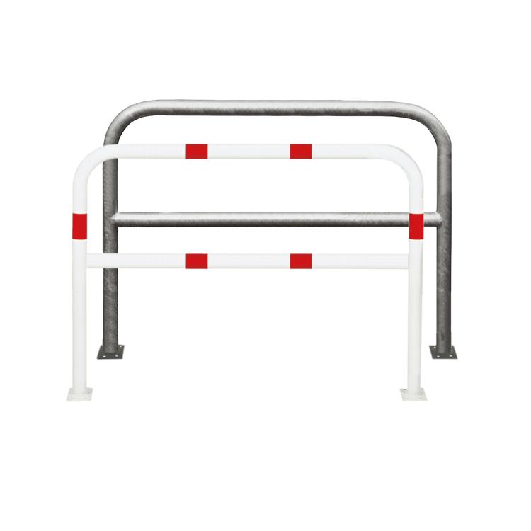 Anlehnbügel / Absperrbügel -Sylt- ø 60 mm aus Stahl, Höhe 1000 mm, zum Aufdübeln, mit Querholm, ohne Farbe, weiß / rot oder nach RAL