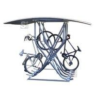 Fahrradparker / Schräghochparker -Catania-, zweiseitig, mit Bogendach, zur freien Aufstellung