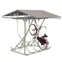 Fahrradparker / Schräghochparker -Florenz-, zweiseitig, mit Satteldach, zur freien Aufstellung