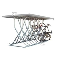 Fahrradparker / Schräghochparker -Latium-, zweiseitig, mit Flachdach, zur freien Aufstellung